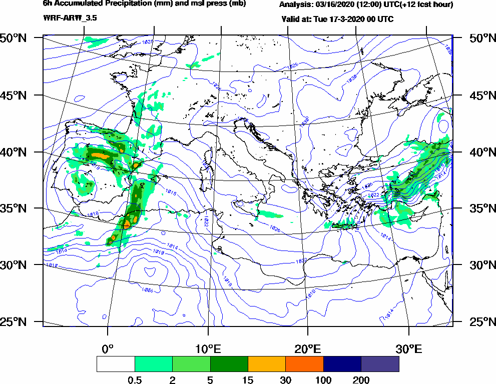 6h Accumulated Precipitation (mm) and msl press (mb) - 2020-03-16 18:00