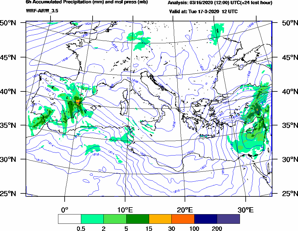 6h Accumulated Precipitation (mm) and msl press (mb) - 2020-03-17 06:00