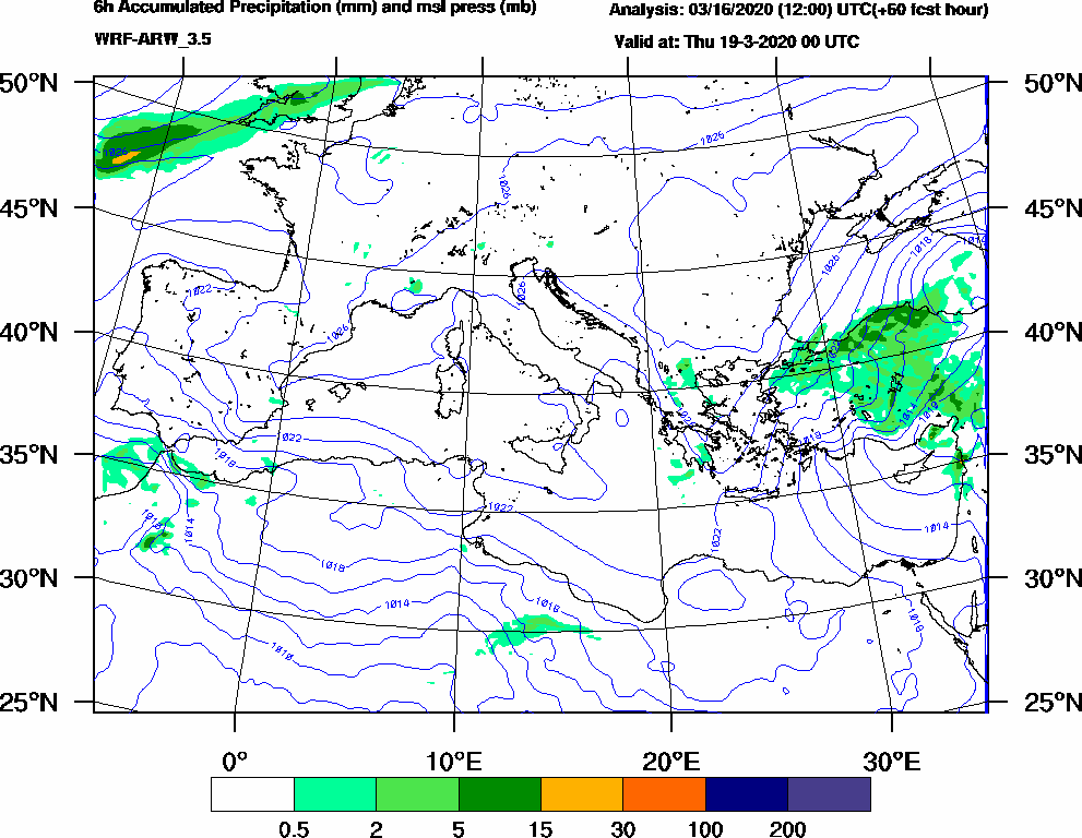 6h Accumulated Precipitation (mm) and msl press (mb) - 2020-03-18 18:00