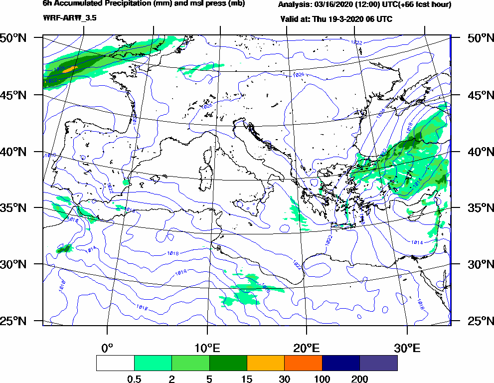6h Accumulated Precipitation (mm) and msl press (mb) - 2020-03-19 00:00