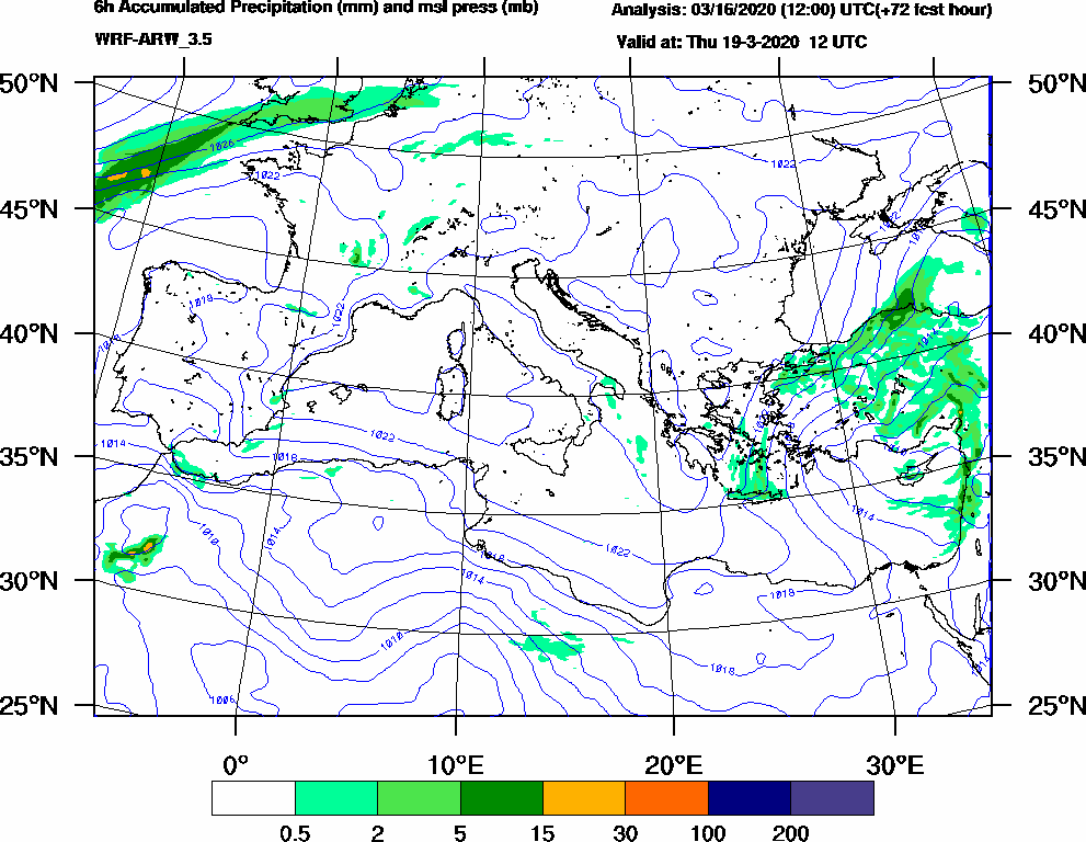 6h Accumulated Precipitation (mm) and msl press (mb) - 2020-03-19 06:00