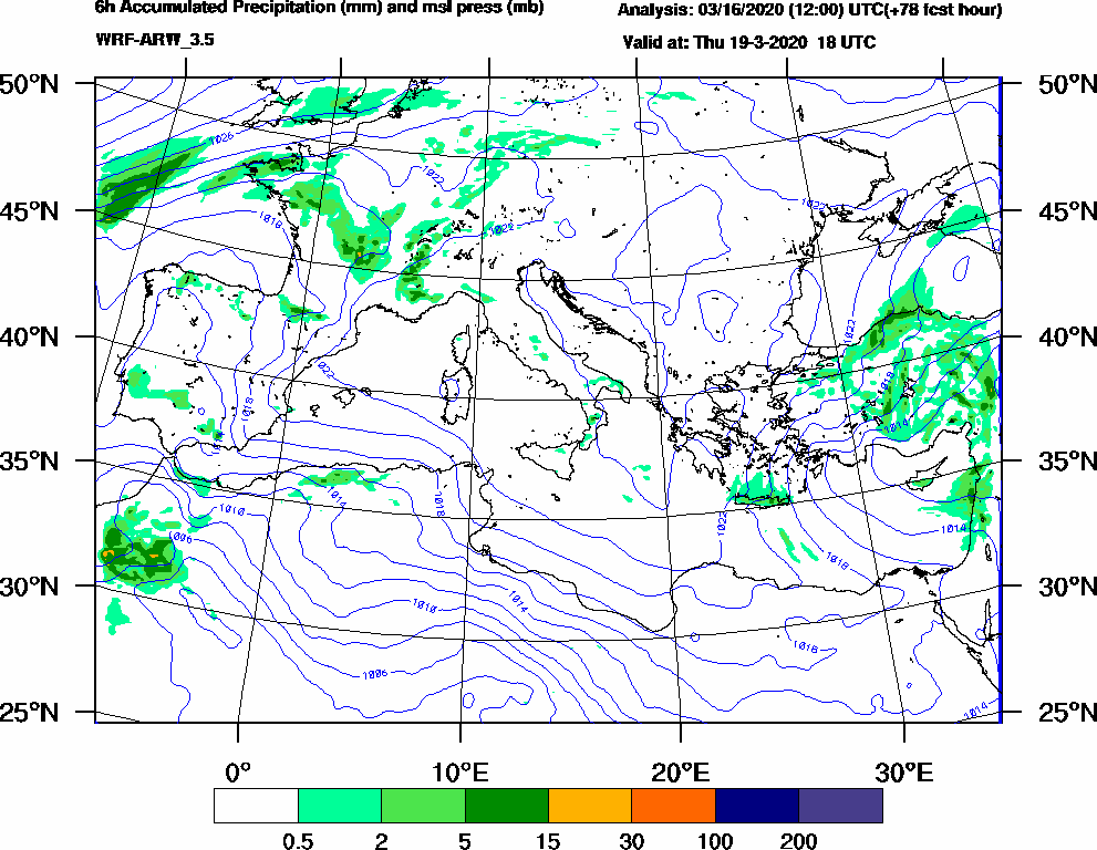 6h Accumulated Precipitation (mm) and msl press (mb) - 2020-03-19 12:00
