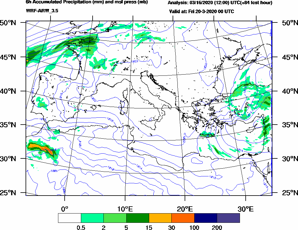 6h Accumulated Precipitation (mm) and msl press (mb) - 2020-03-19 18:00