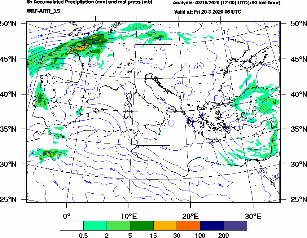6h Accumulated Precipitation (mm) and msl press (mb) - 2020-03-20 00:00