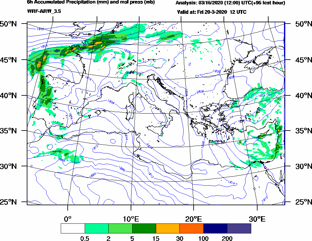 6h Accumulated Precipitation (mm) and msl press (mb) - 2020-03-20 06:00