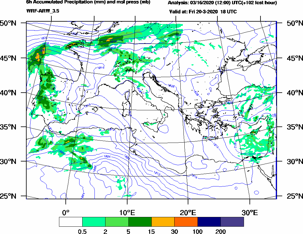 6h Accumulated Precipitation (mm) and msl press (mb) - 2020-03-20 12:00