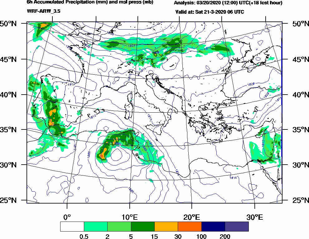 6h Accumulated Precipitation (mm) and msl press (mb) - 2020-03-21 00:00