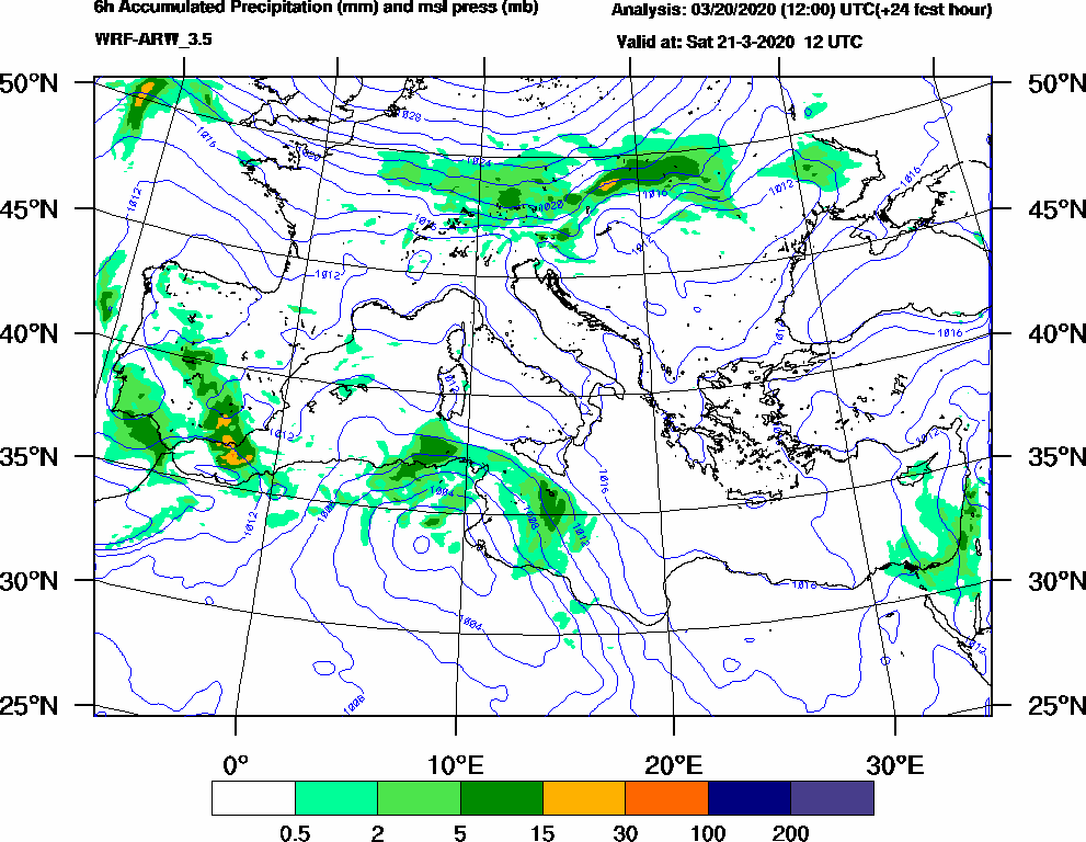 6h Accumulated Precipitation (mm) and msl press (mb) - 2020-03-21 06:00