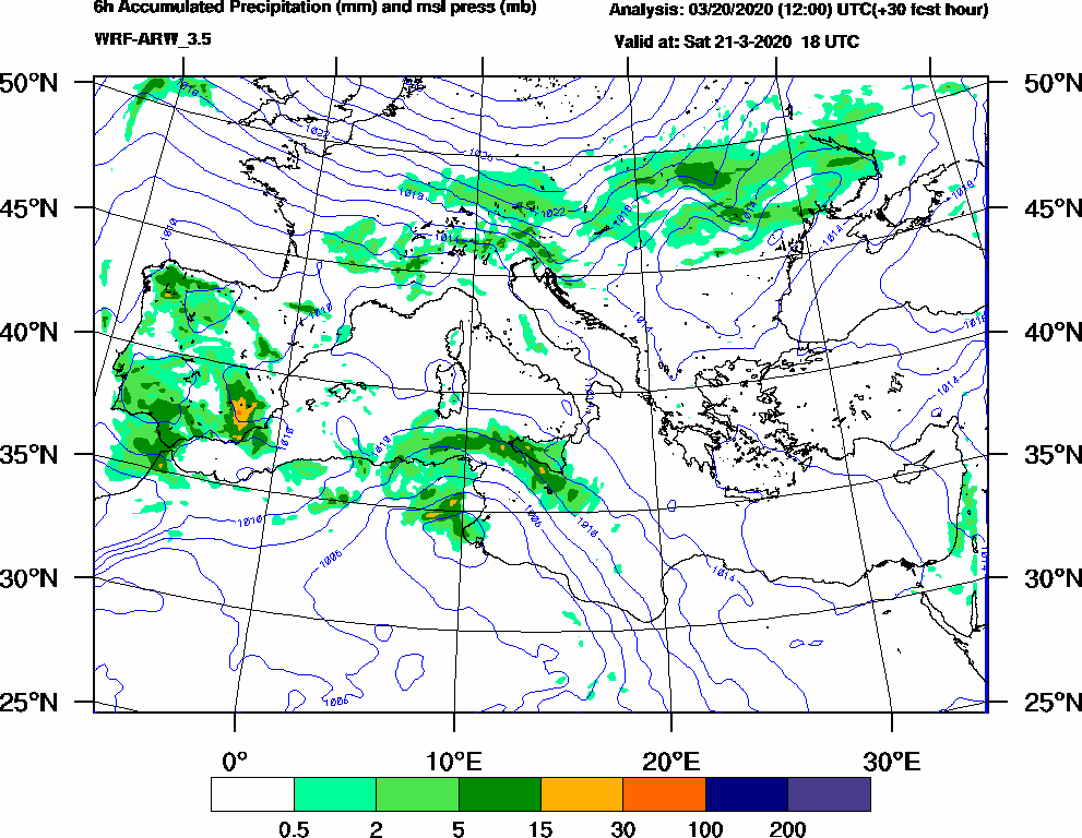 6h Accumulated Precipitation (mm) and msl press (mb) - 2020-03-21 12:00