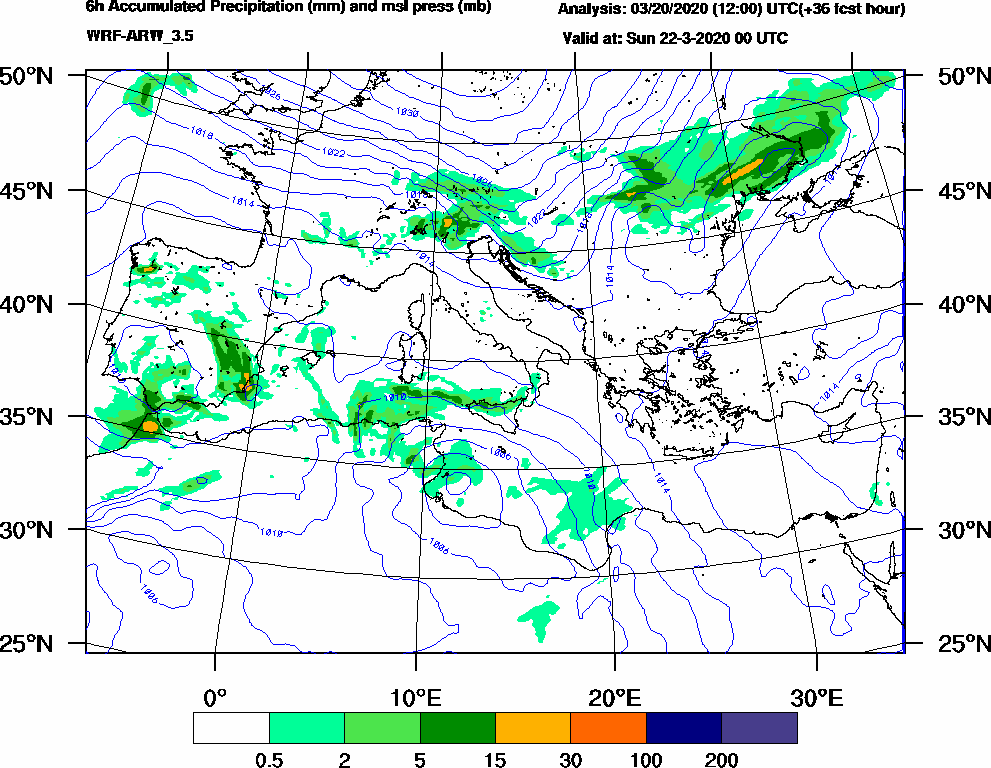 6h Accumulated Precipitation (mm) and msl press (mb) - 2020-03-21 18:00