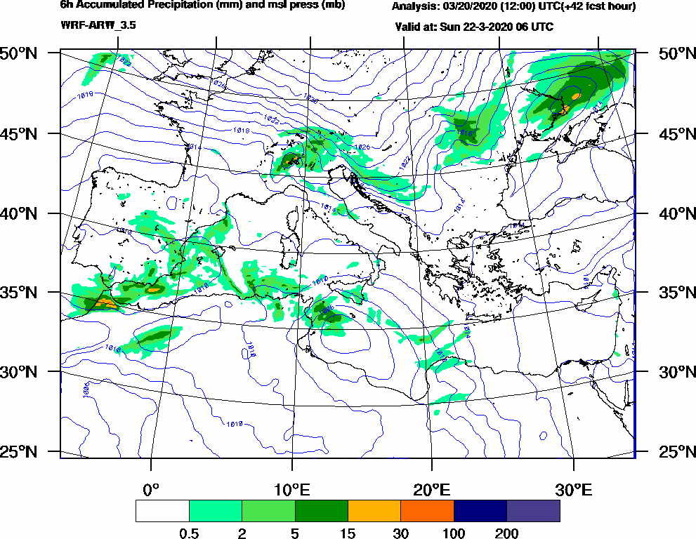 6h Accumulated Precipitation (mm) and msl press (mb) - 2020-03-22 00:00