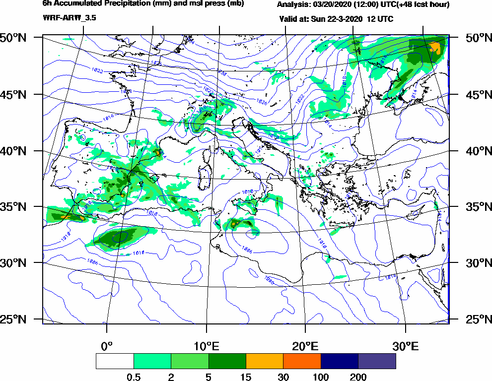 6h Accumulated Precipitation (mm) and msl press (mb) - 2020-03-22 06:00
