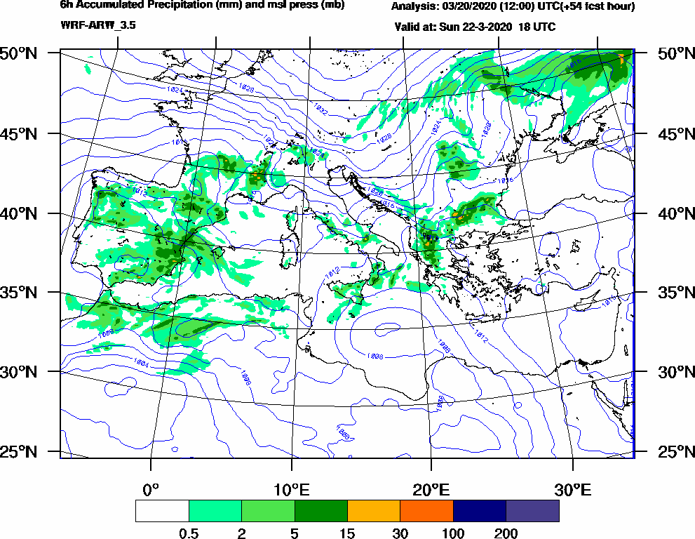 6h Accumulated Precipitation (mm) and msl press (mb) - 2020-03-22 12:00