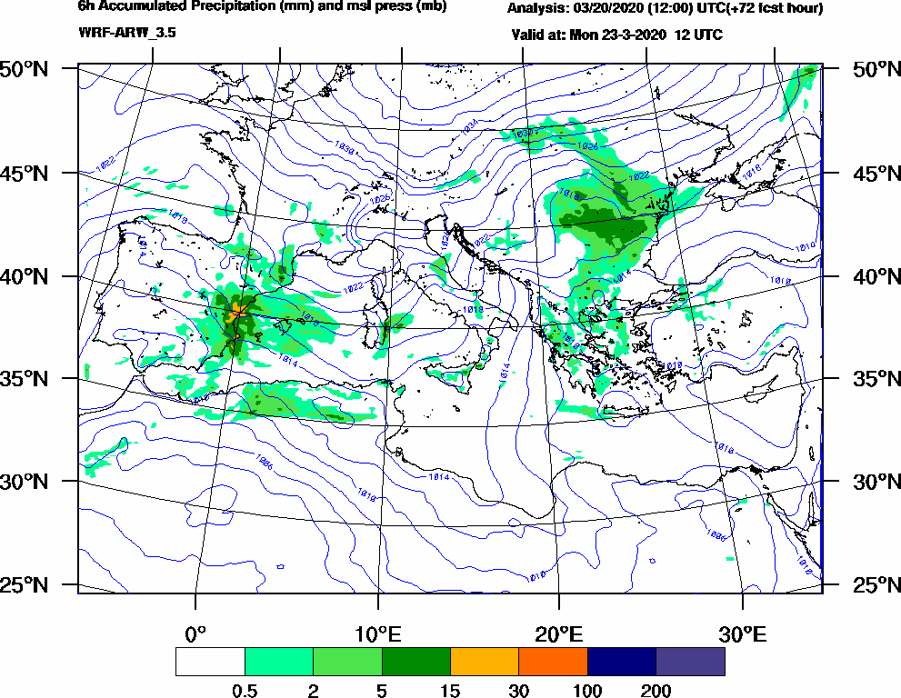 6h Accumulated Precipitation (mm) and msl press (mb) - 2020-03-23 06:00