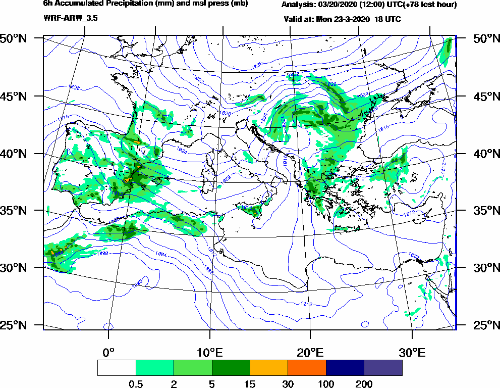 6h Accumulated Precipitation (mm) and msl press (mb) - 2020-03-23 12:00