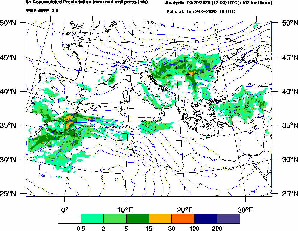 6h Accumulated Precipitation (mm) and msl press (mb) - 2020-03-24 12:00
