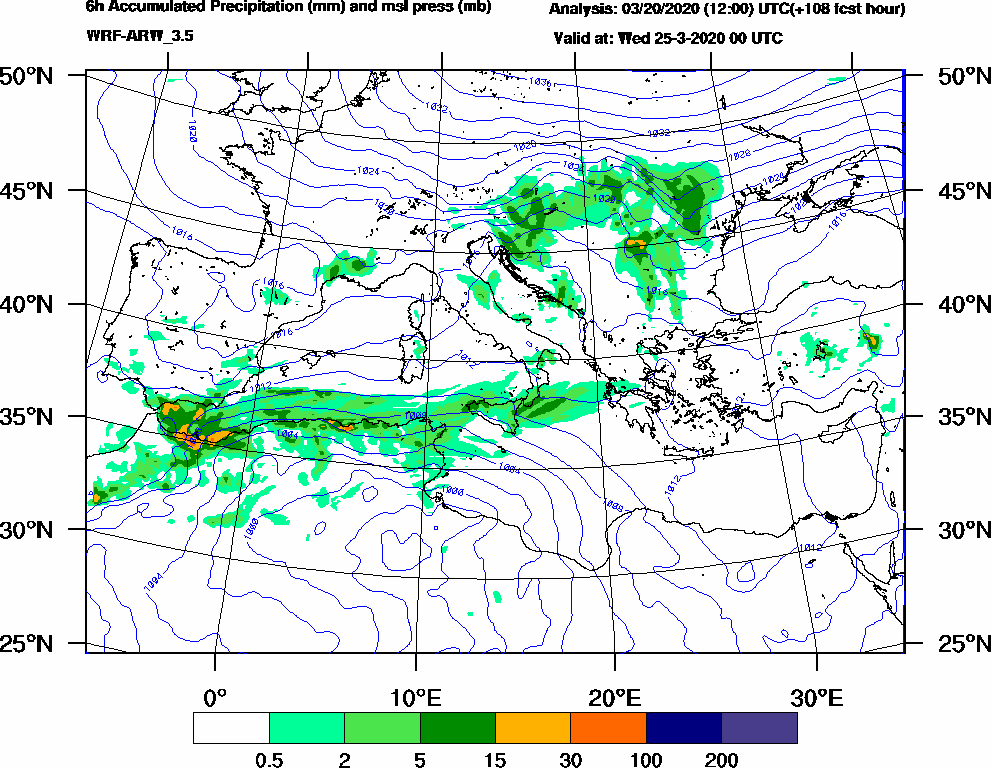 6h Accumulated Precipitation (mm) and msl press (mb) - 2020-03-24 18:00