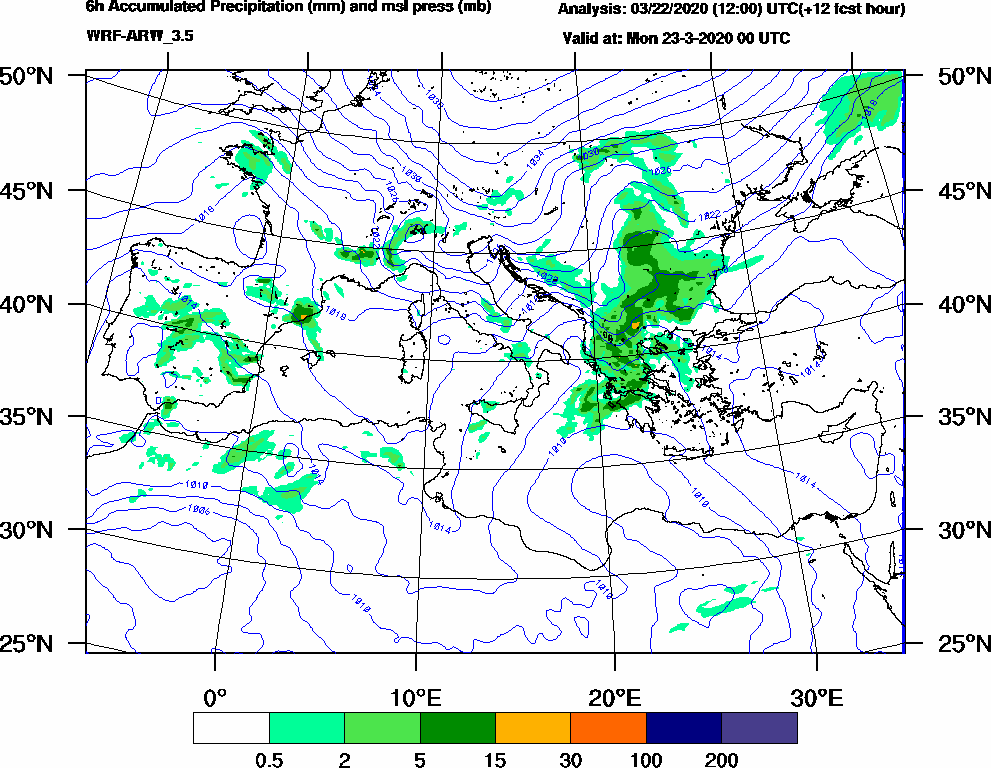 6h Accumulated Precipitation (mm) and msl press (mb) - 2020-03-22 18:00