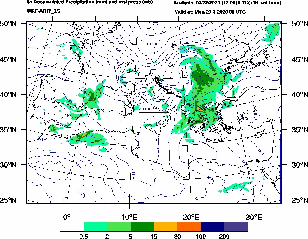6h Accumulated Precipitation (mm) and msl press (mb) - 2020-03-23 00:00
