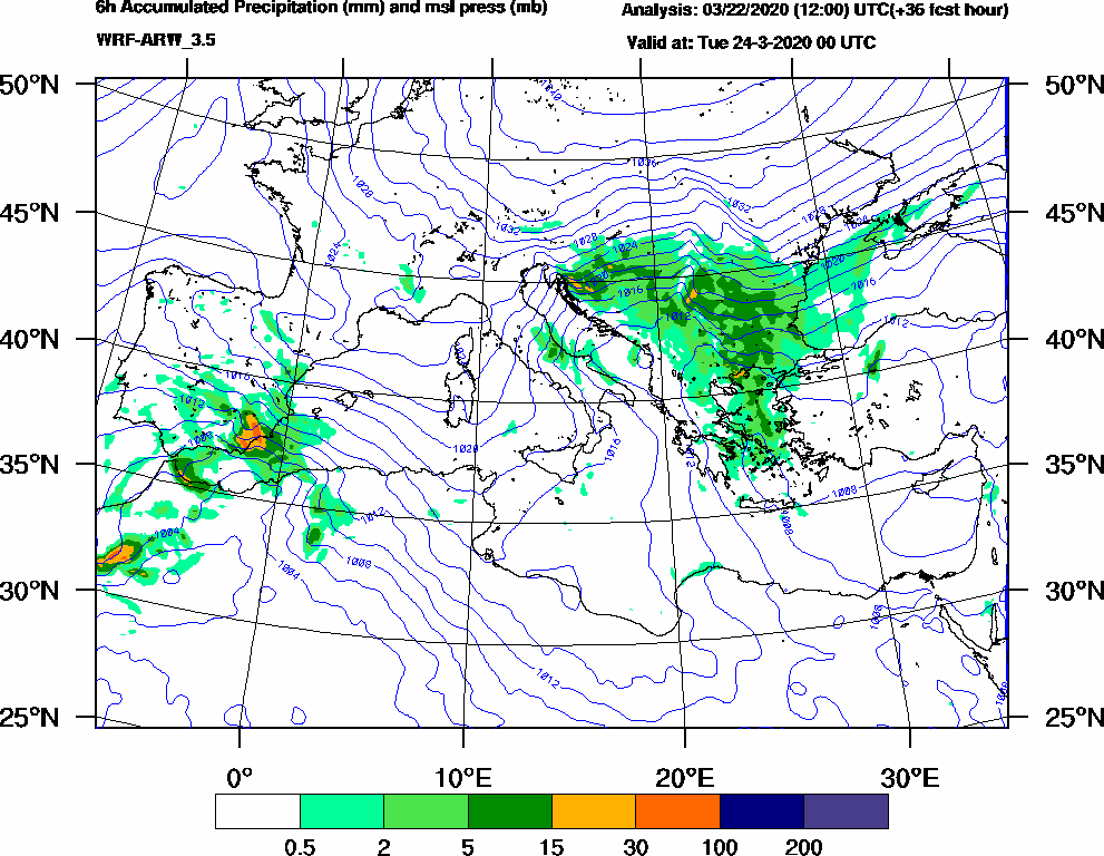 6h Accumulated Precipitation (mm) and msl press (mb) - 2020-03-23 18:00