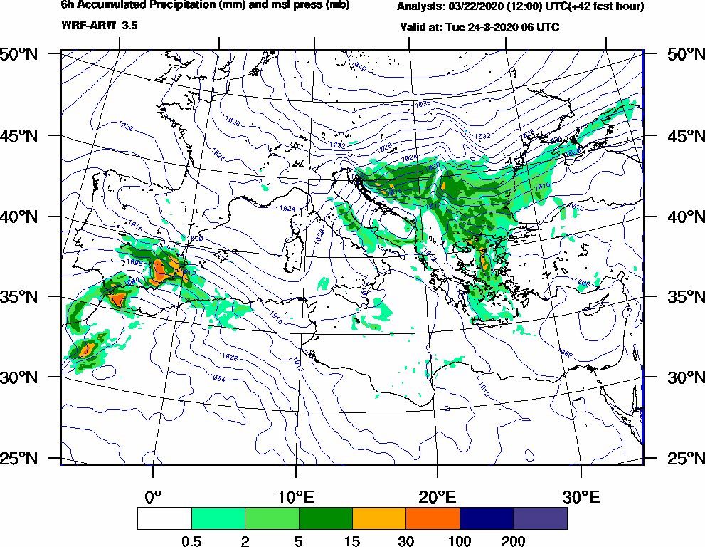 6h Accumulated Precipitation (mm) and msl press (mb) - 2020-03-24 00:00