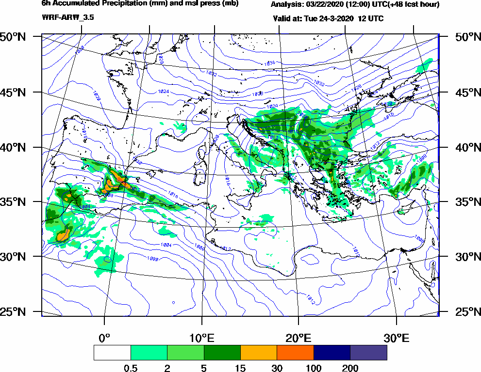 6h Accumulated Precipitation (mm) and msl press (mb) - 2020-03-24 06:00