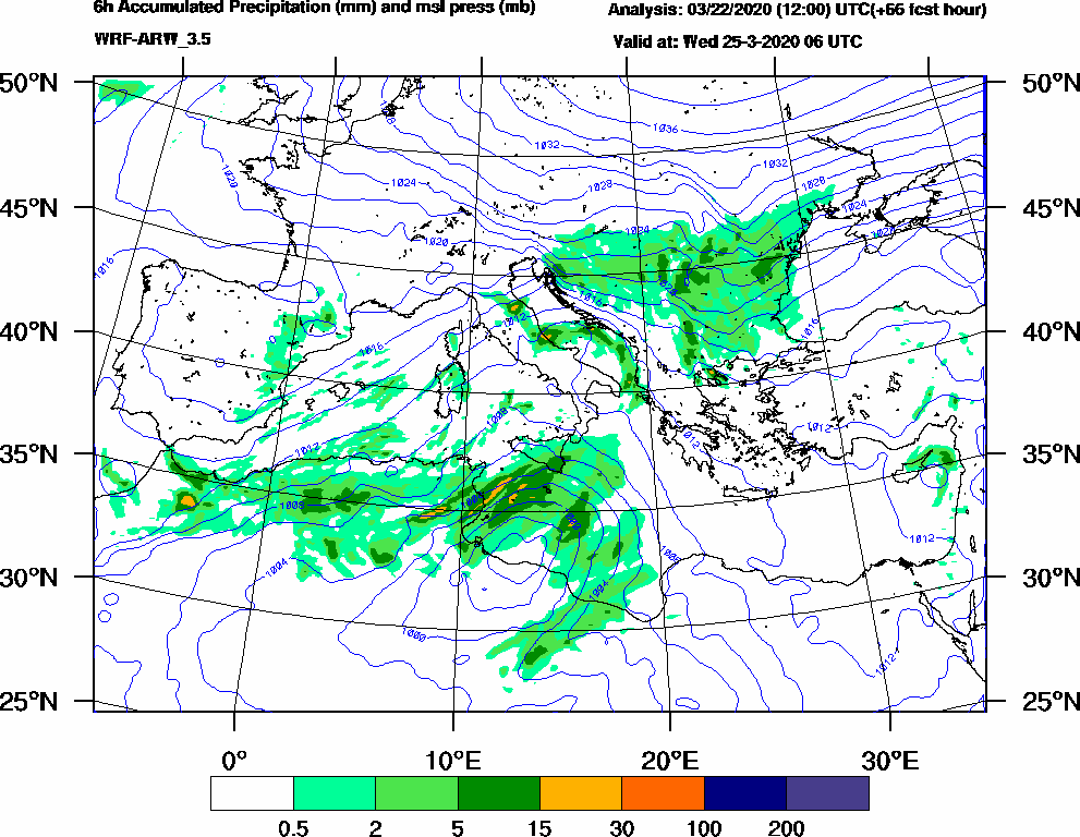 6h Accumulated Precipitation (mm) and msl press (mb) - 2020-03-25 00:00