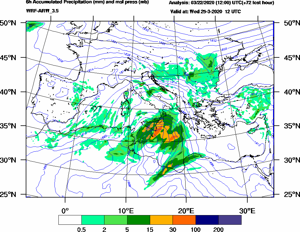 6h Accumulated Precipitation (mm) and msl press (mb) - 2020-03-25 06:00