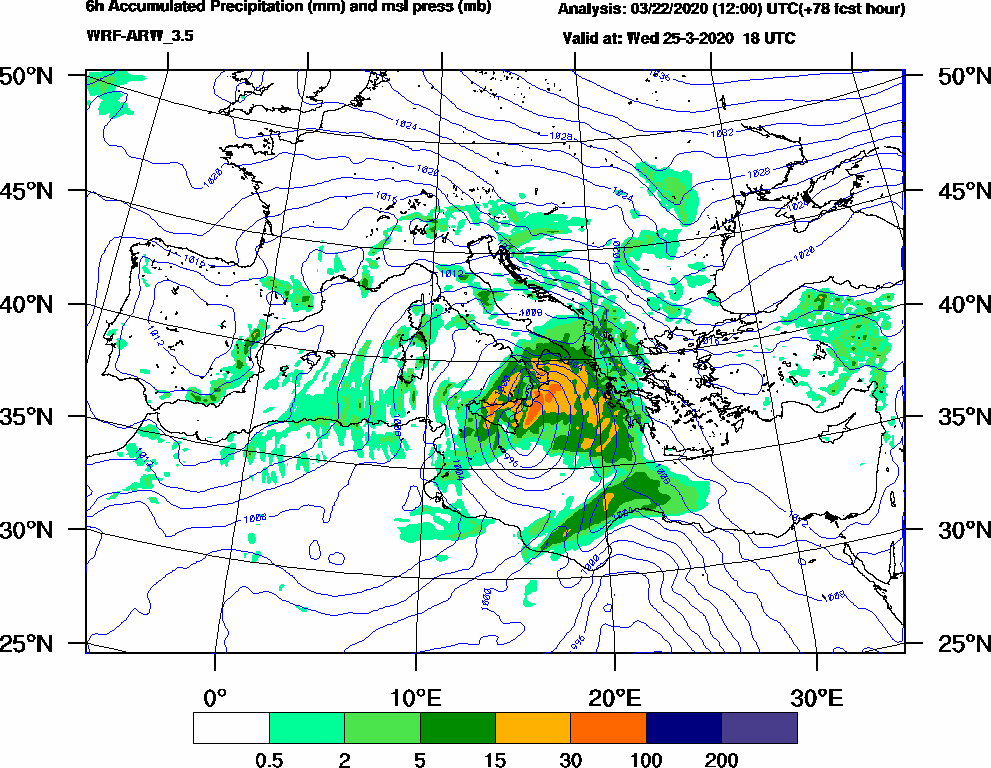 6h Accumulated Precipitation (mm) and msl press (mb) - 2020-03-25 12:00