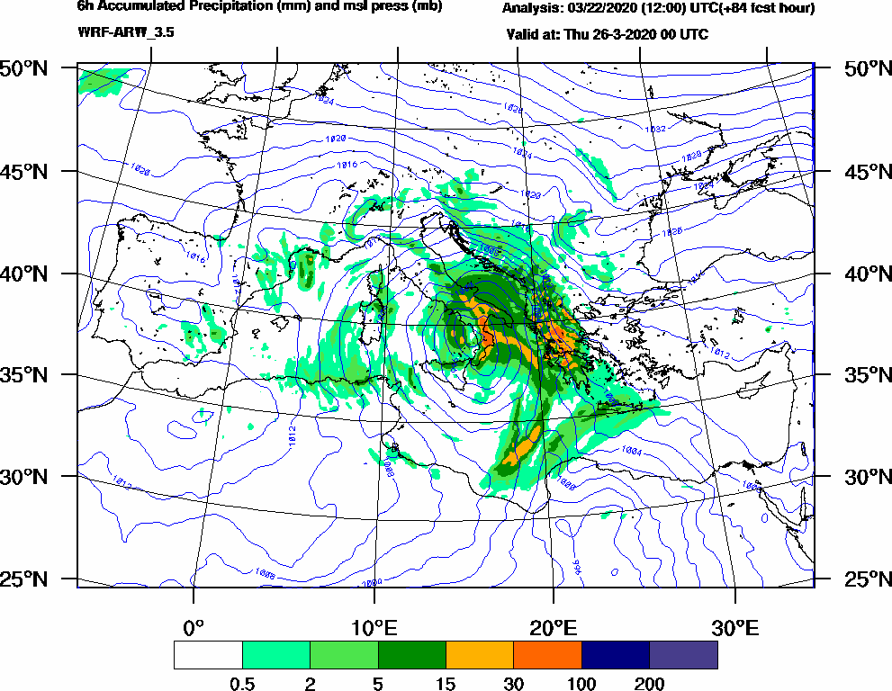 6h Accumulated Precipitation (mm) and msl press (mb) - 2020-03-25 18:00