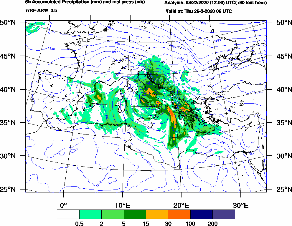 6h Accumulated Precipitation (mm) and msl press (mb) - 2020-03-26 00:00