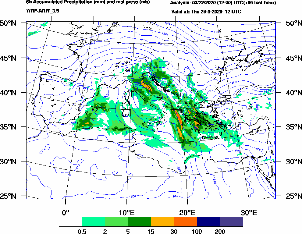 6h Accumulated Precipitation (mm) and msl press (mb) - 2020-03-26 06:00