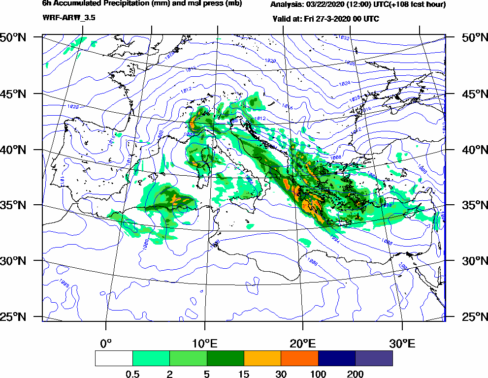 6h Accumulated Precipitation (mm) and msl press (mb) - 2020-03-26 18:00