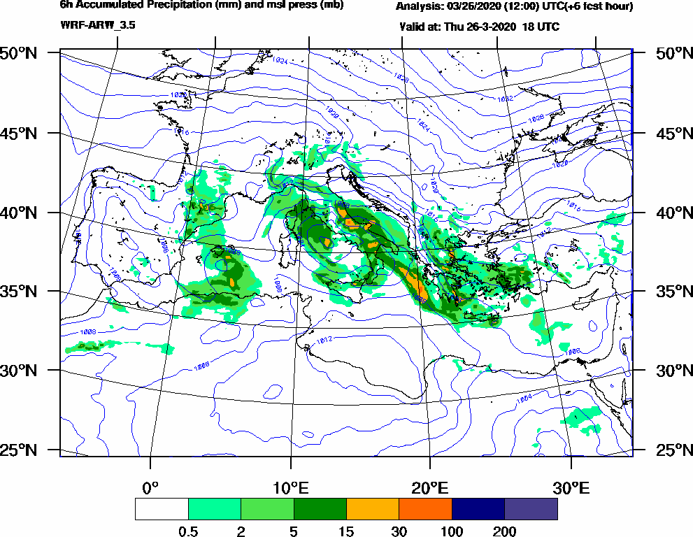 6h Accumulated Precipitation (mm) and msl press (mb) - 2020-03-26 12:00