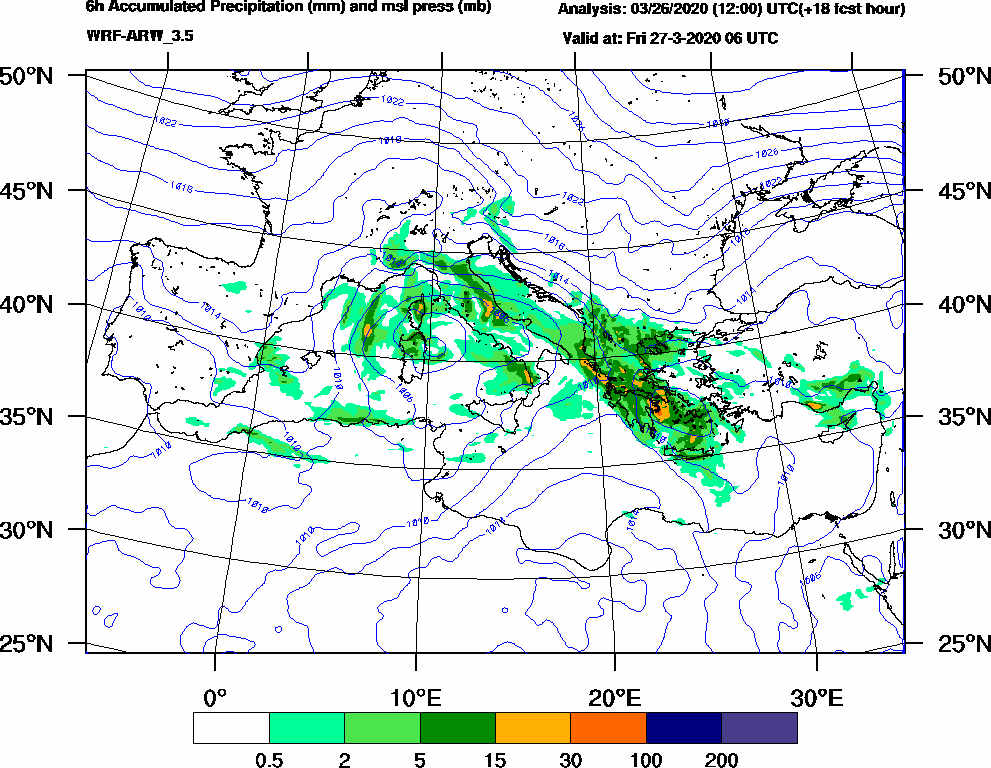 6h Accumulated Precipitation (mm) and msl press (mb) - 2020-03-27 00:00