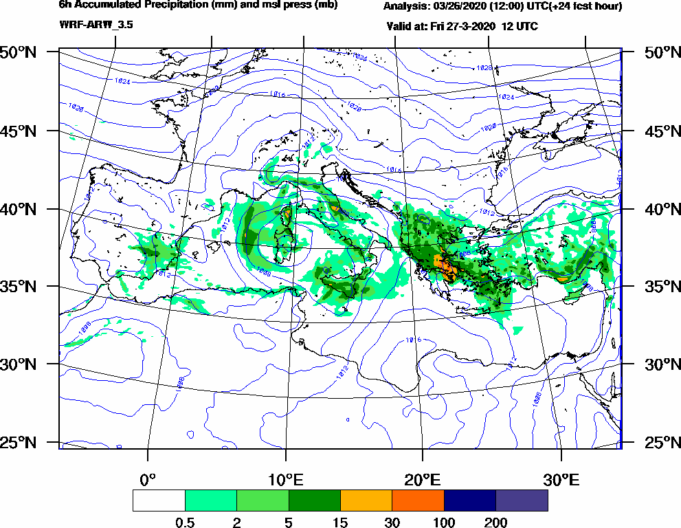 6h Accumulated Precipitation (mm) and msl press (mb) - 2020-03-27 06:00