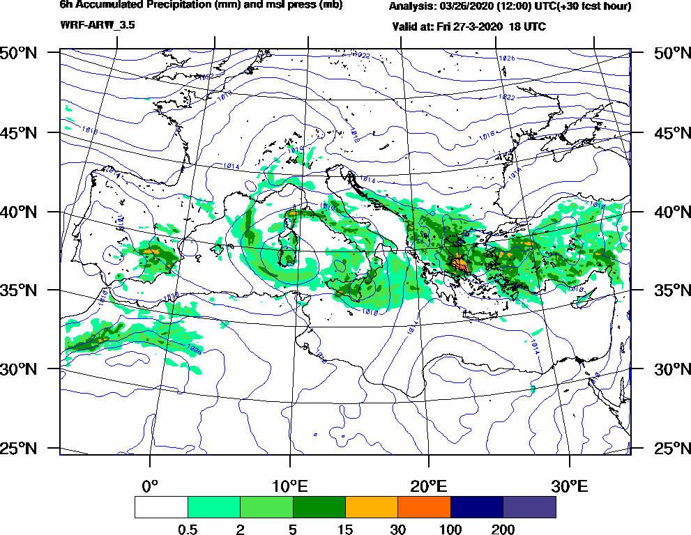 6h Accumulated Precipitation (mm) and msl press (mb) - 2020-03-27 12:00