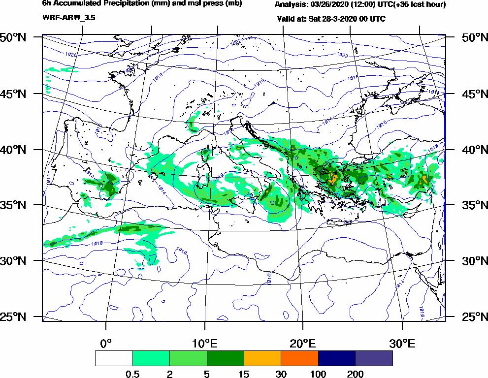 6h Accumulated Precipitation (mm) and msl press (mb) - 2020-03-27 18:00