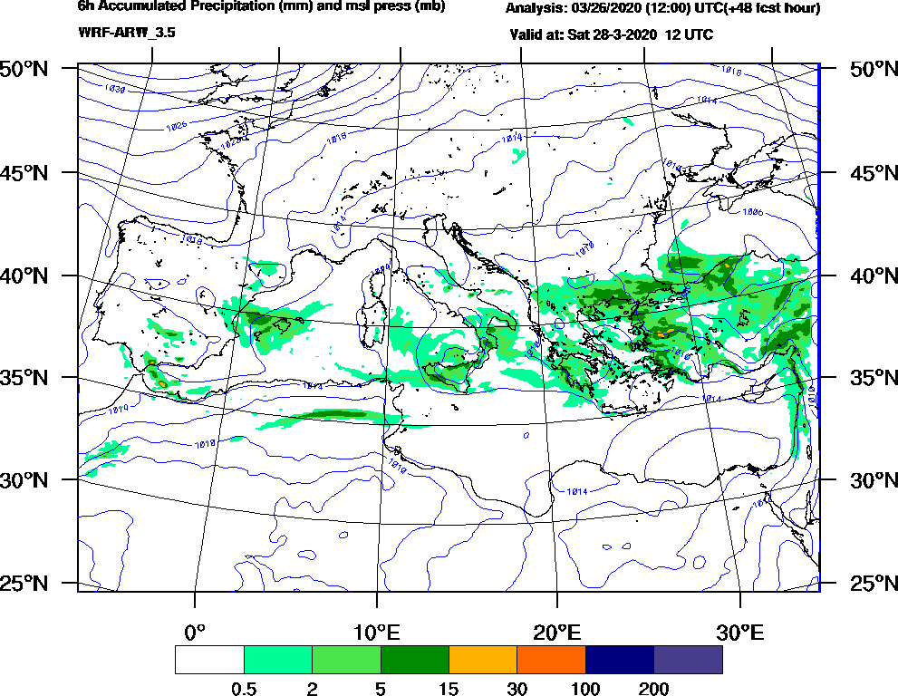 6h Accumulated Precipitation (mm) and msl press (mb) - 2020-03-28 06:00