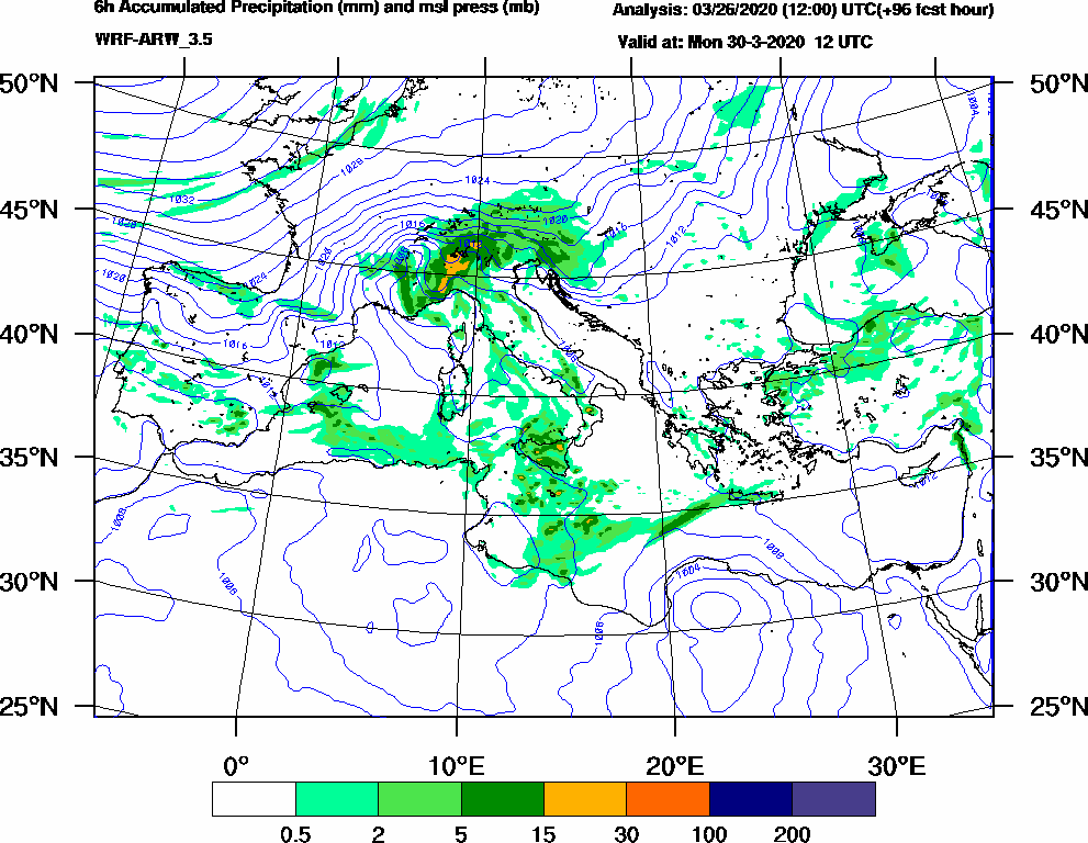 6h Accumulated Precipitation (mm) and msl press (mb) - 2020-03-30 06:00