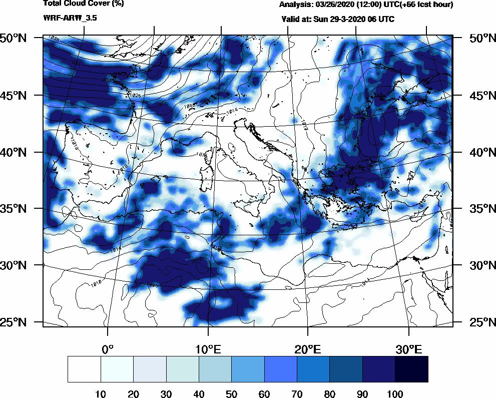 Total cloud cover (%) - 2020-03-29 00:00