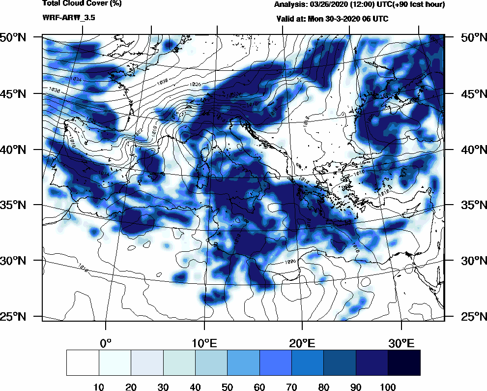 Total cloud cover (%) - 2020-03-30 00:00