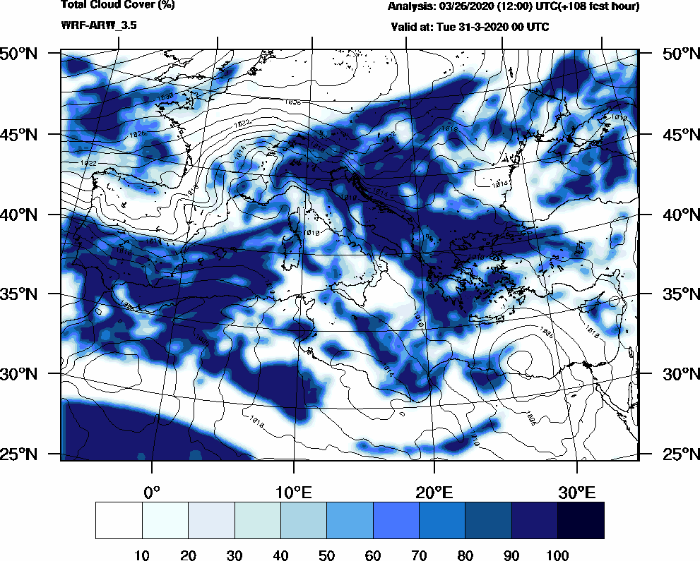 Total cloud cover (%) - 2020-03-30 18:00