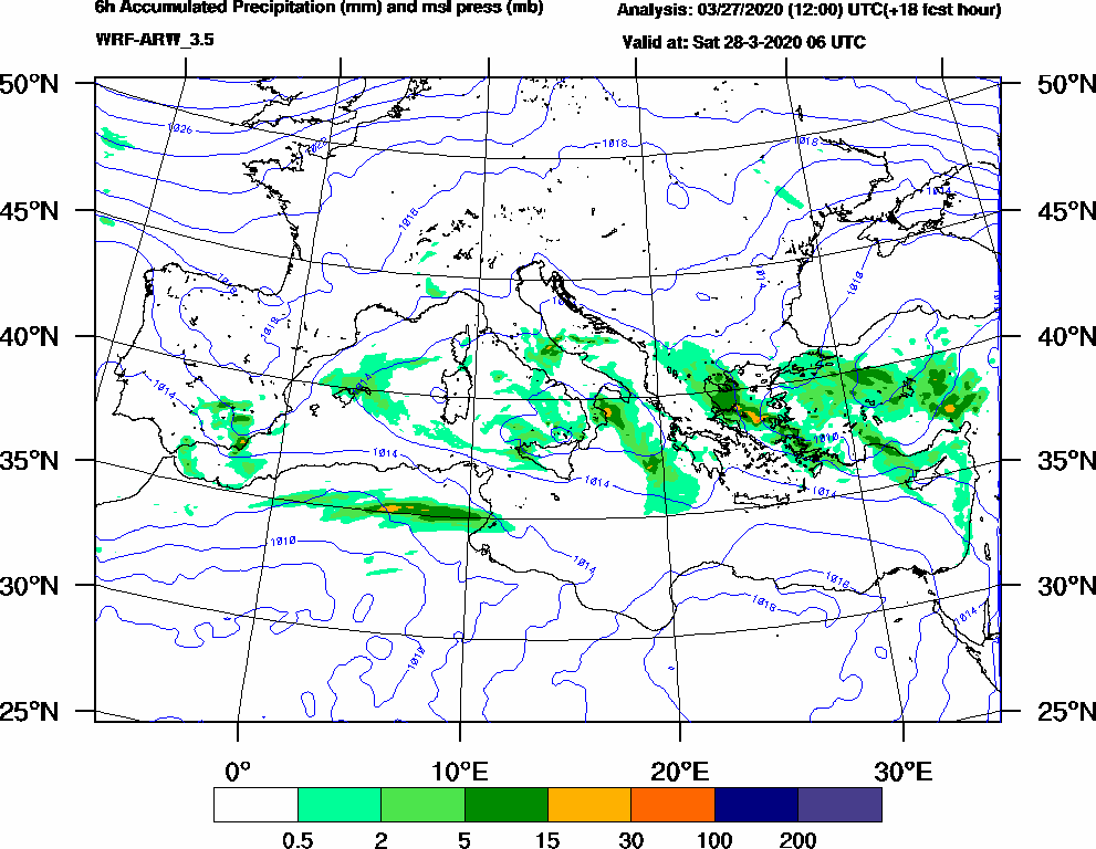 6h Accumulated Precipitation (mm) and msl press (mb) - 2020-03-28 00:00