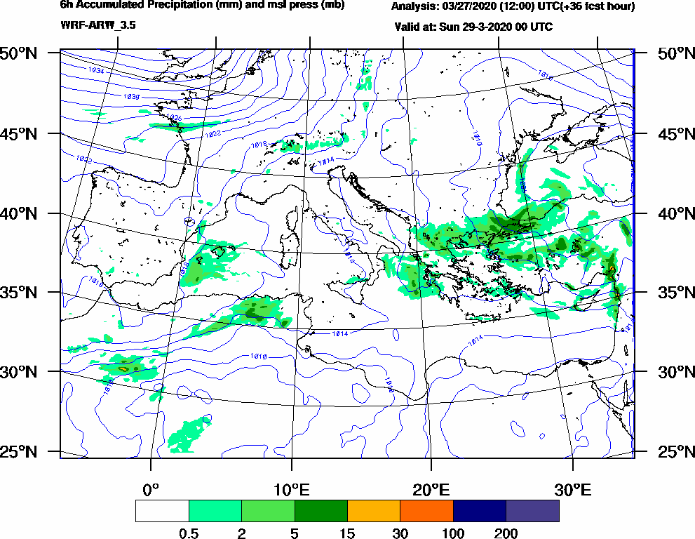 6h Accumulated Precipitation (mm) and msl press (mb) - 2020-03-28 18:00