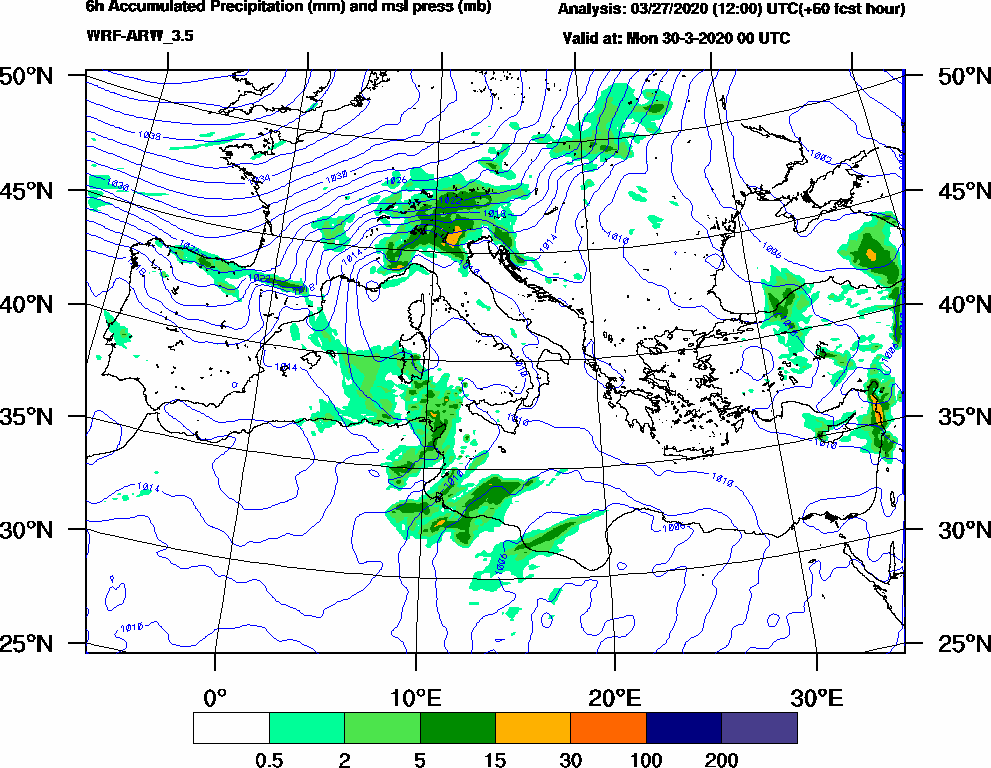 6h Accumulated Precipitation (mm) and msl press (mb) - 2020-03-29 18:00
