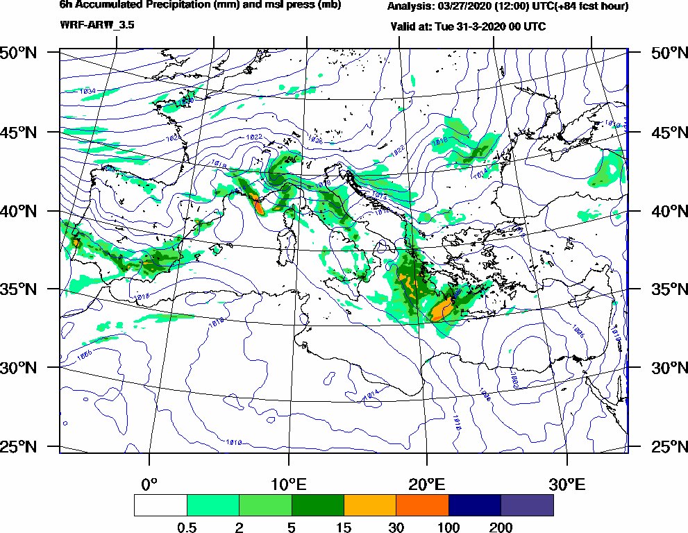 6h Accumulated Precipitation (mm) and msl press (mb) - 2020-03-30 18:00