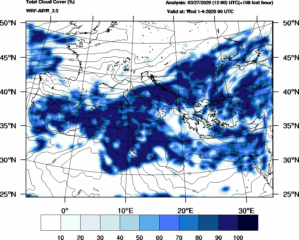 Total cloud cover (%) - 2020-03-31 18:00