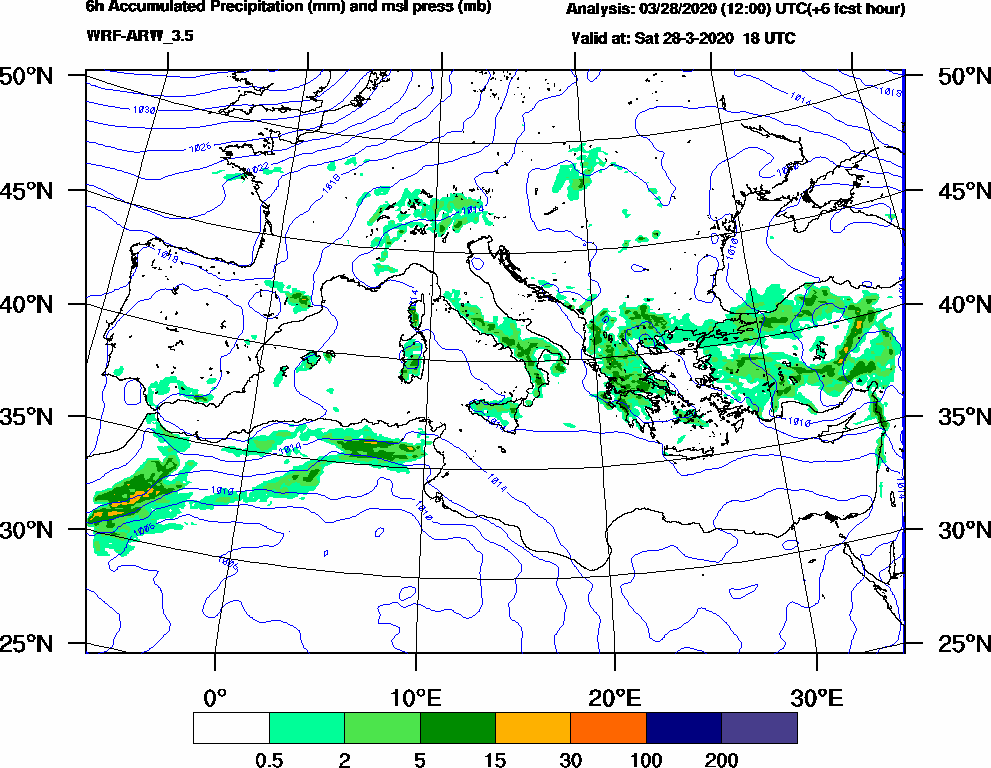 6h Accumulated Precipitation (mm) and msl press (mb) - 2020-03-28 12:00