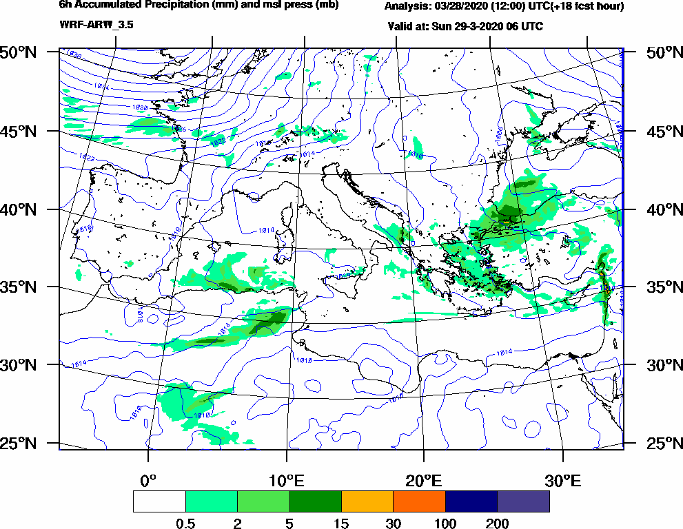 6h Accumulated Precipitation (mm) and msl press (mb) - 2020-03-29 00:00